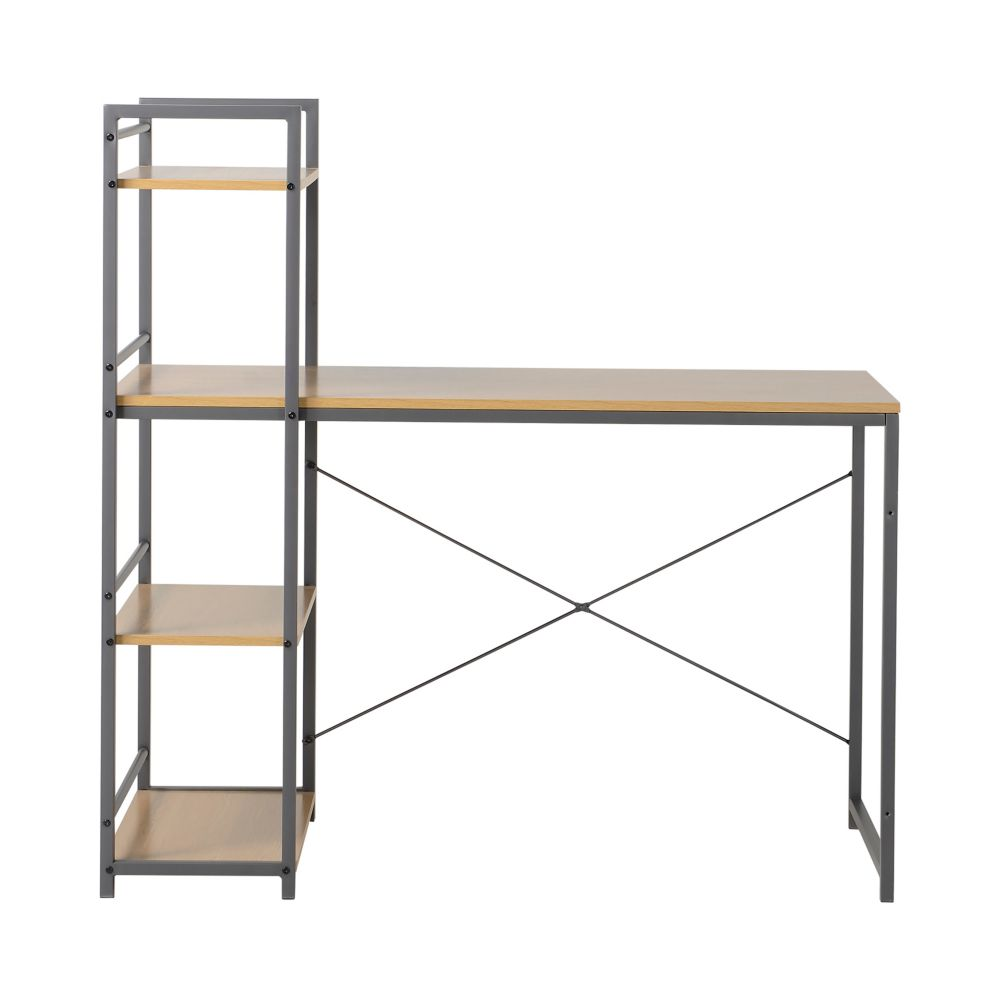 Desk With Built In 4-Shelf Bookcase In Natural Wood