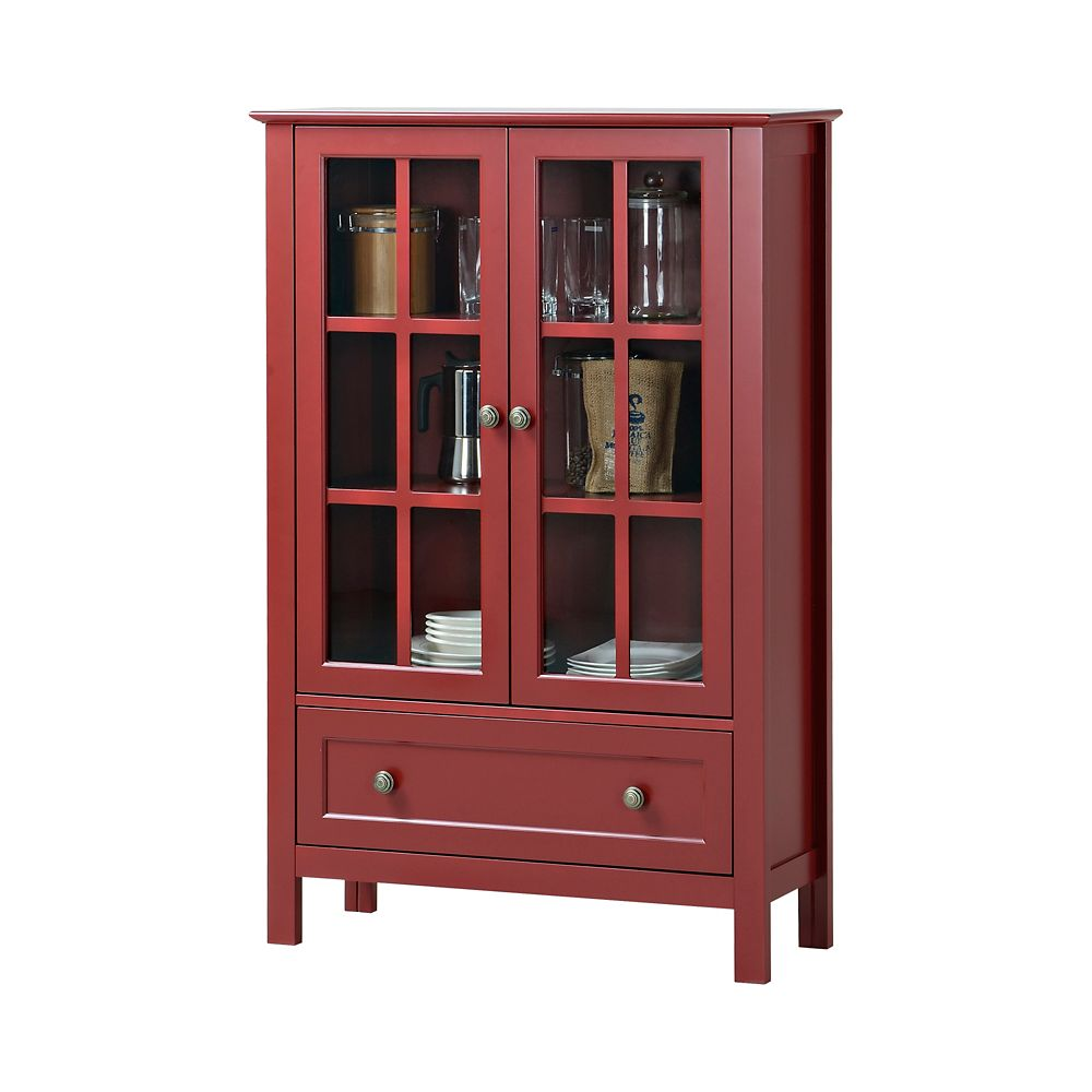 2-Door/ 1-Drawer Glass Cabinet In Red