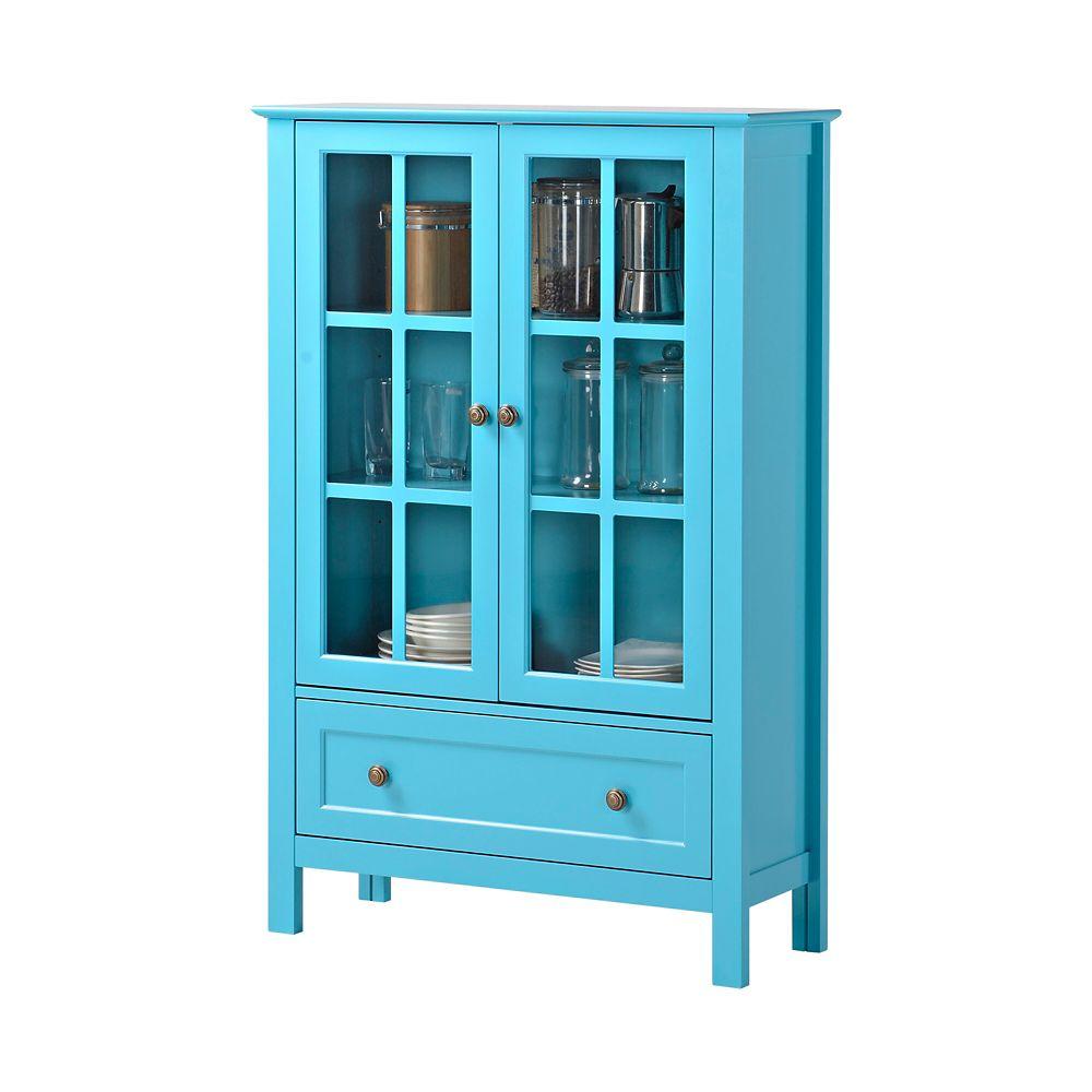 2-Door/ 1-Drawer Glass Cabinet In Blue