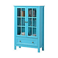 2-Door/ 1-Drawer Glass Cabinet In Blue
