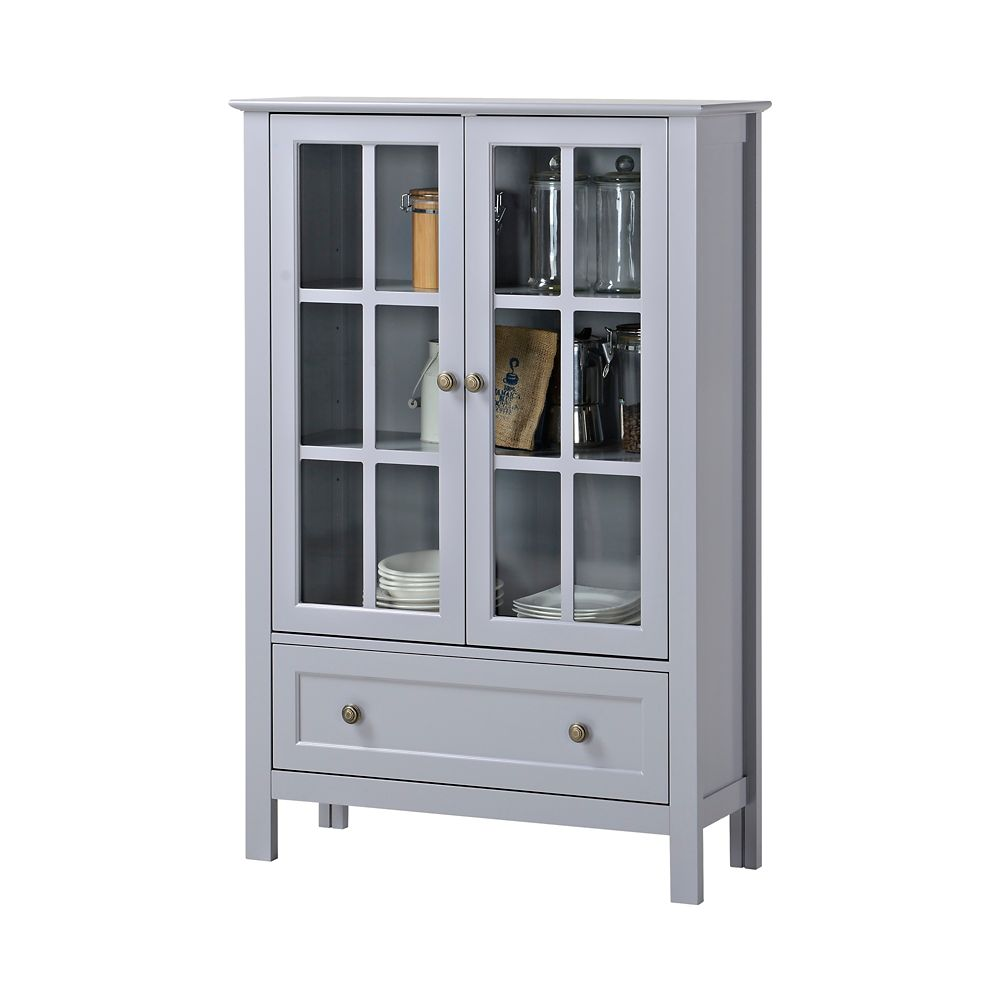 2-Door/ 1-Drawer Glass Cabinet In Grey