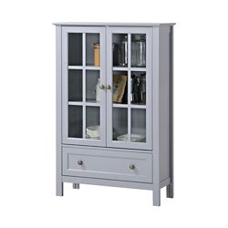 Homestar 31.5-inch x 12-inch x 47.25-inch Fibreboard & Tempered Glass Free-Standing Cabinet in Grey