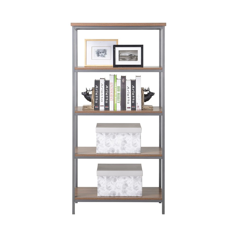 Homestar 4-Shelf Bookcase in Natural Finish