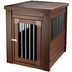 Habitat N' Home Indoor Crate/End Table With Stainless Steel Spindle In Russet