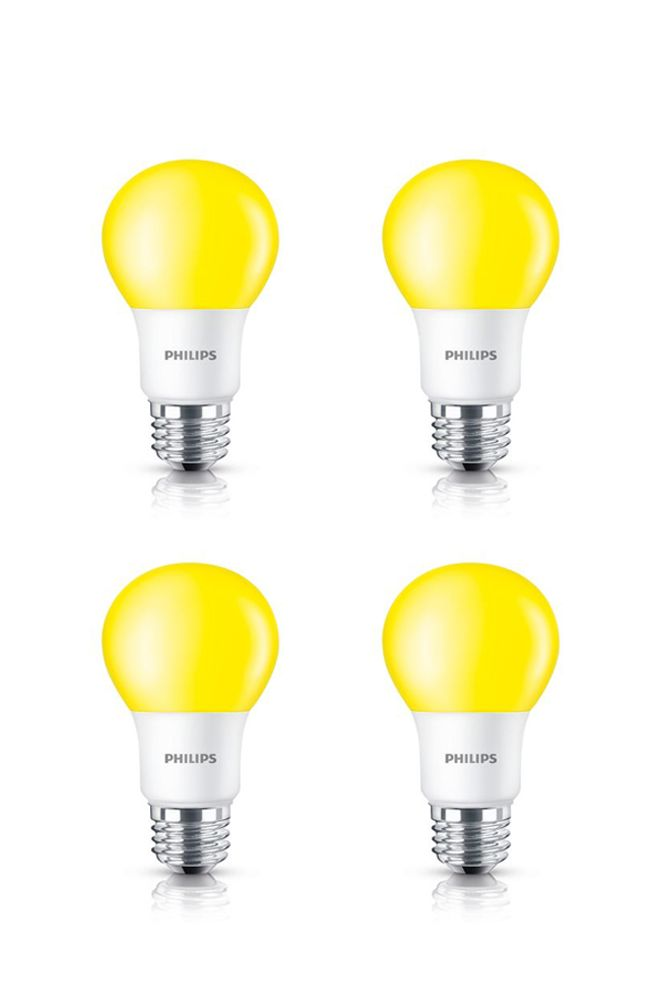 LED 60W A19 Yellow Non Dimmable - Bug Light - Case of 6 Bulbs