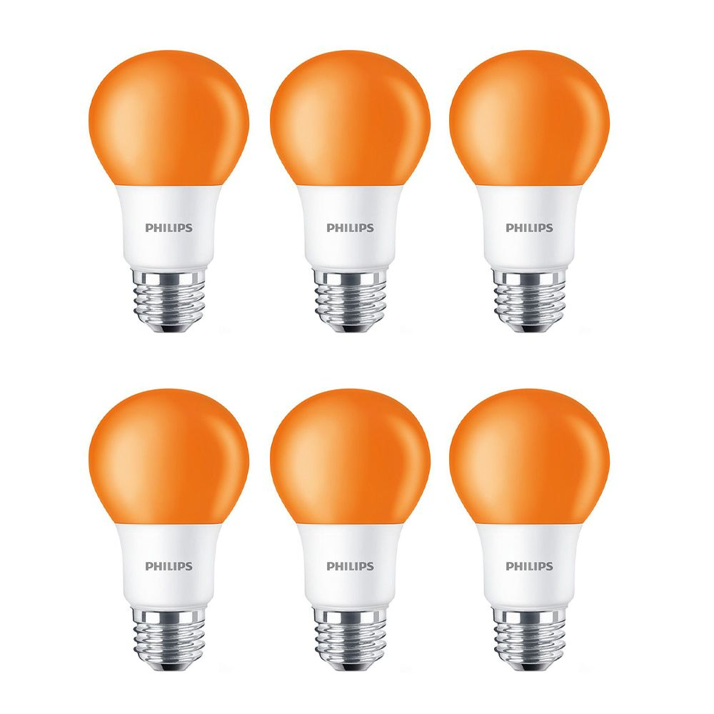 LED 60W A19 Orange Non Dimmable - Case of 6 Bulbs