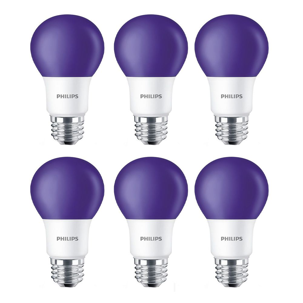 LED 60W A19 Purple Non Dimmable - Case of 6 Bulbs