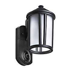 Traditional Smart Security Textured Black Metal and Glass Outdoor Wall Lantern