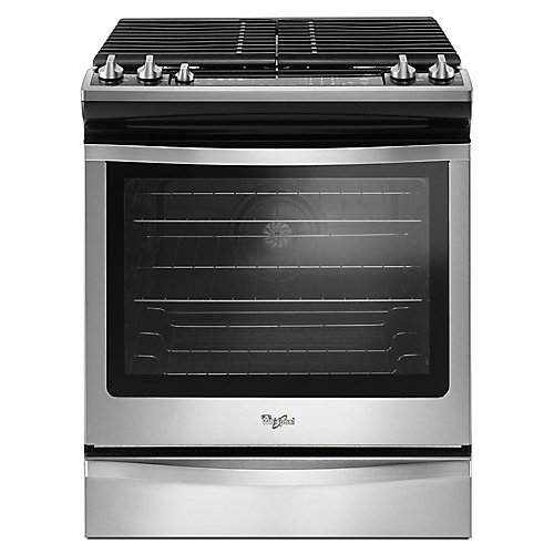 5.8 cu.ft. Slide-In Gas Range with Self-Cleaning Convection Oven in Stainless Steel