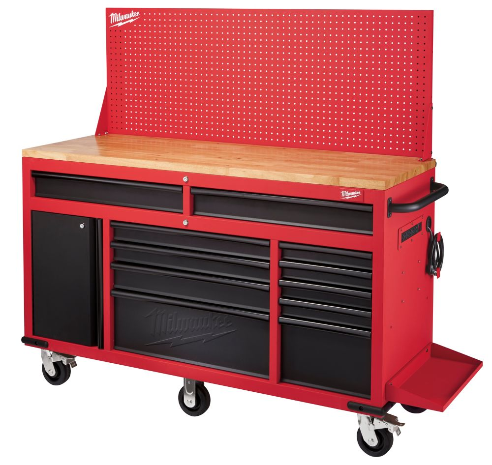 Milwaukee Tool 60-Inch 11-Drawer Mobile Workbench in Red and Black w/ Adjustable Height Pegboard Wall