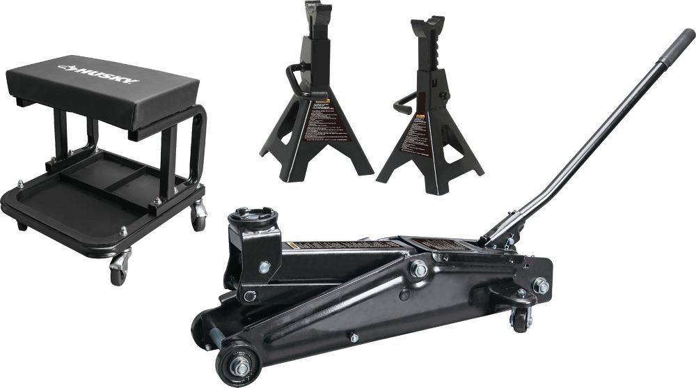 HUSKY 3 Ton Trolley Jack With Stands And Seat