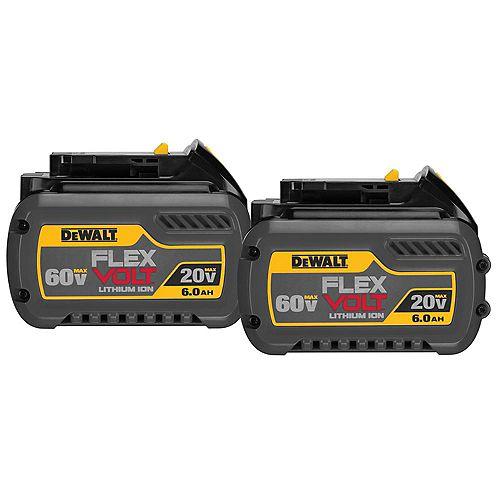 FLEXVOLT DCB606-2 20V/60V MAX FLEXVOLT Lithium Ion 6,0 Ah Batterie (2 Pack)