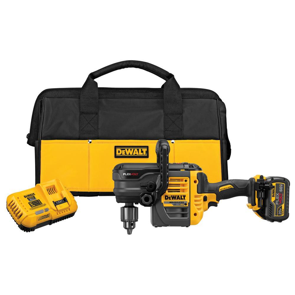 DEWALT FLEXVOLT 60V MAX Lithium-Ion Cordless 1/2-inch Stud and Joist Drill with Battery, Charger and Bag