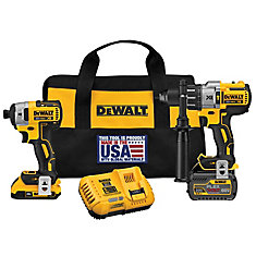 FLEXVOLT 20V MAX XR Lithium-Ion Brushless Hammer Drill and Impact Driver w/ Batteries