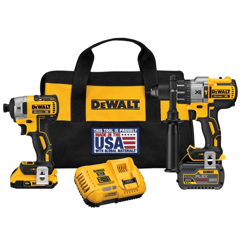 DEWALT FLEXVOLT 20V MAX XR Lithium-Ion Brushless Hammer Drill and Impact Driver w/ Batteries