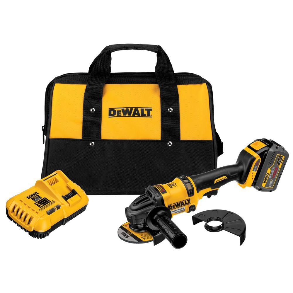 DEWALT FLEXVOLT 60V MAX Lithium-Ion Cordless Brushless 4 1/2-inch Angle Grinder with Battery and Charger