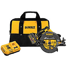 FLEXVOLT 60V MAX Li-Ion Cordless Brushless 7-1/4-inch Circular Saw w/ Battery 2Ah, 1-Hour Charger and Case