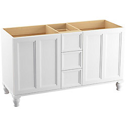 KOHLER Damask 60 inch Vanity With Furniture Legs, 2 Doors And 3 Drawers, Linen White