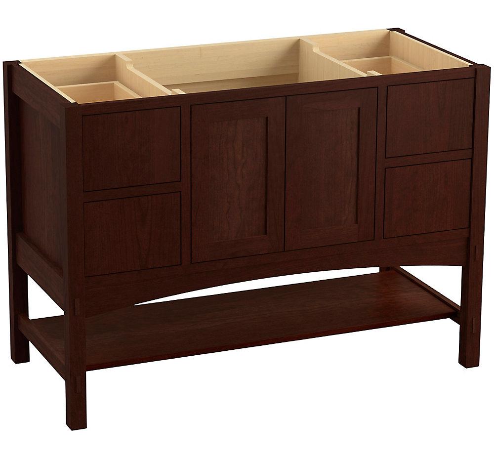 Marabou 48 inch Vanity With 2 Doors And 4 Drawers, Split Top Drawers, Cherry Tweed