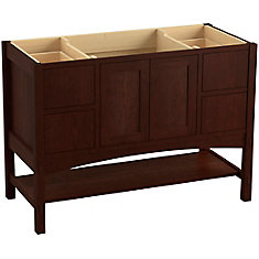 Marabou 48 inch Vanity With 2 Doors And 4 Drawers, Split Top Drawers, Cherry Tweed