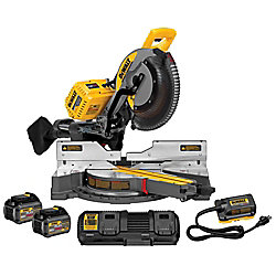 DEWALT FLEXVOLT 120V MAX Li-Ion Cordless Brushless 12-inch Sliding Miter Saw w/ AC Adapter, Batteries 2Ah and Charger