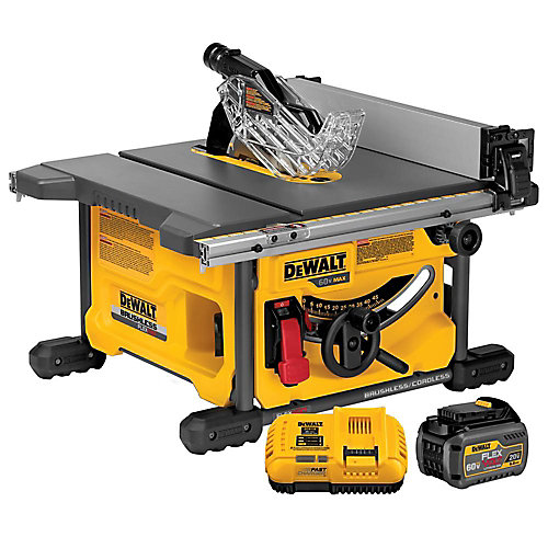 FLEXVOLT 60V MAX Li-Ion Cordless Brushless 8-1/4-inch Table Saw Kit with Battery 2Ah and Charger