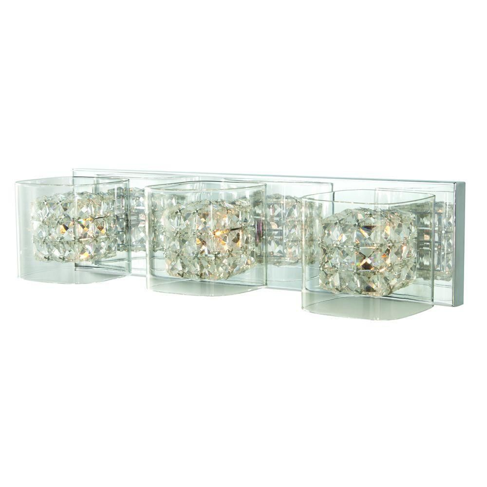 Home Decorators Collection Weschler Crystal Cube 3-Light Polished Chrome Vanity Light with Clear Glass Shades