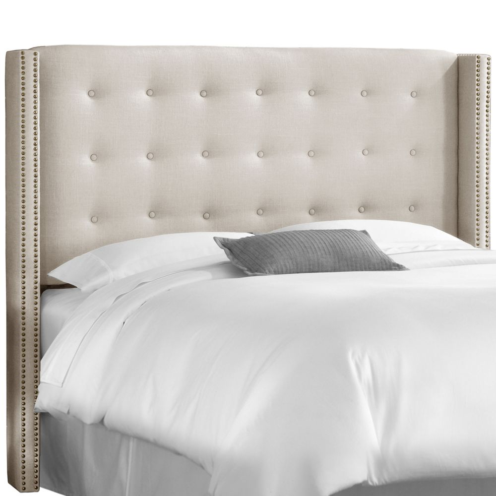 Full Nail Button Tufted Wingback Headboard In Linen Talc