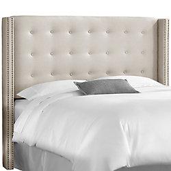 Skyline Furniture Tête de lit rembourrée roi en linge talc