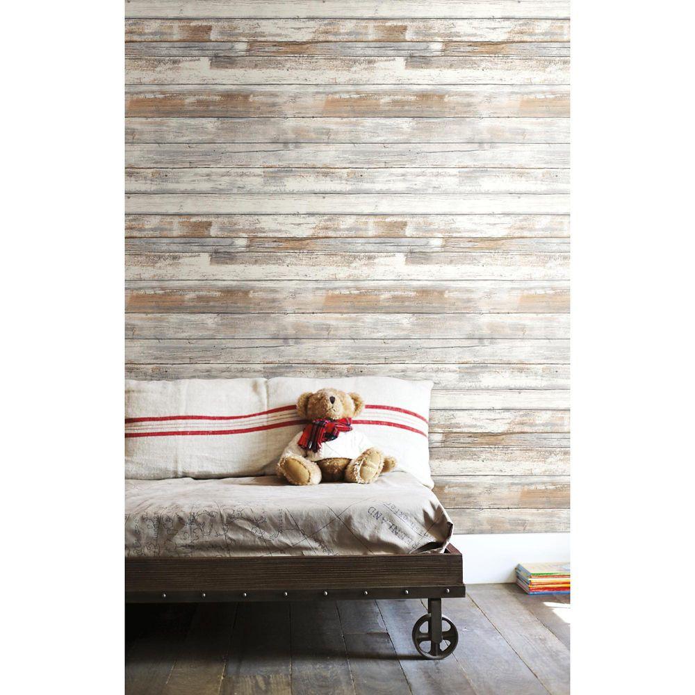 RoomMates Distressed Wood P & S Wallpaper