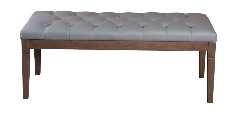 Grey Tufted Accent Bench