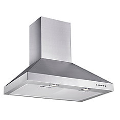 30-inch 320 CFM Convertible Wall Mount Chimney Range Hood in Stainless Steel