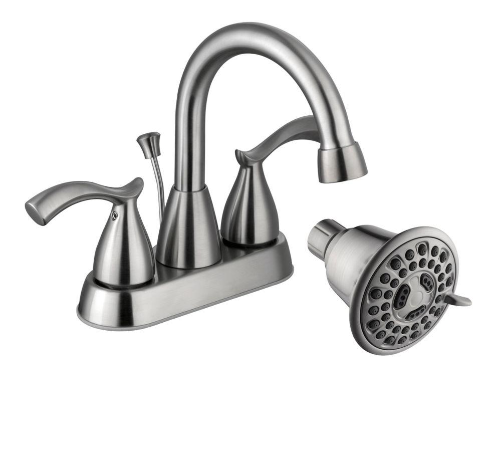 Edgewood 4 Inch Bath Faucet + 3 Spray Showerhead In BN