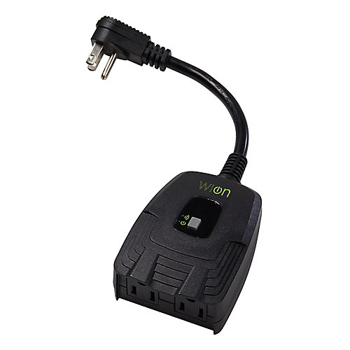 Outdoor Wi-Fi Dual Outlet with Wireless Switch and Programmable Timer - Black