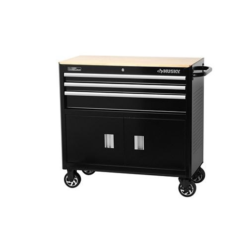HUSKY 39-inch 3-Drawer Mobile Workbench and Tool Storage Cabinet in Black