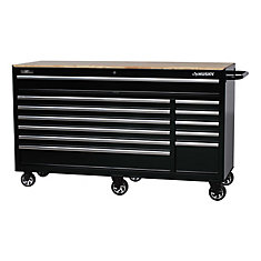 66-inch 12-Drawer Heavy-Duty Mobile Workbench in Black