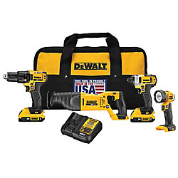 DEWALT 20V MAX Lithium-Ion Cordless Combo Kit (4-Tool) with (2) Batteries 2.0Ah, Charger and Tool Bag