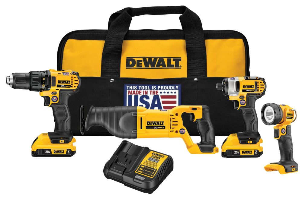 DEWALT 20V MAX Lithium-Ion Cordless 4-Tool Combo Kit with (2) Batteries, Charger and Bag