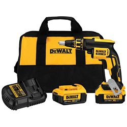 DEWALT 20V MAX XR Li-Ion Cordless Brushless Drywall Screw Gun w/ (2) Batteries 4Ah, Charger and Contractor Bag