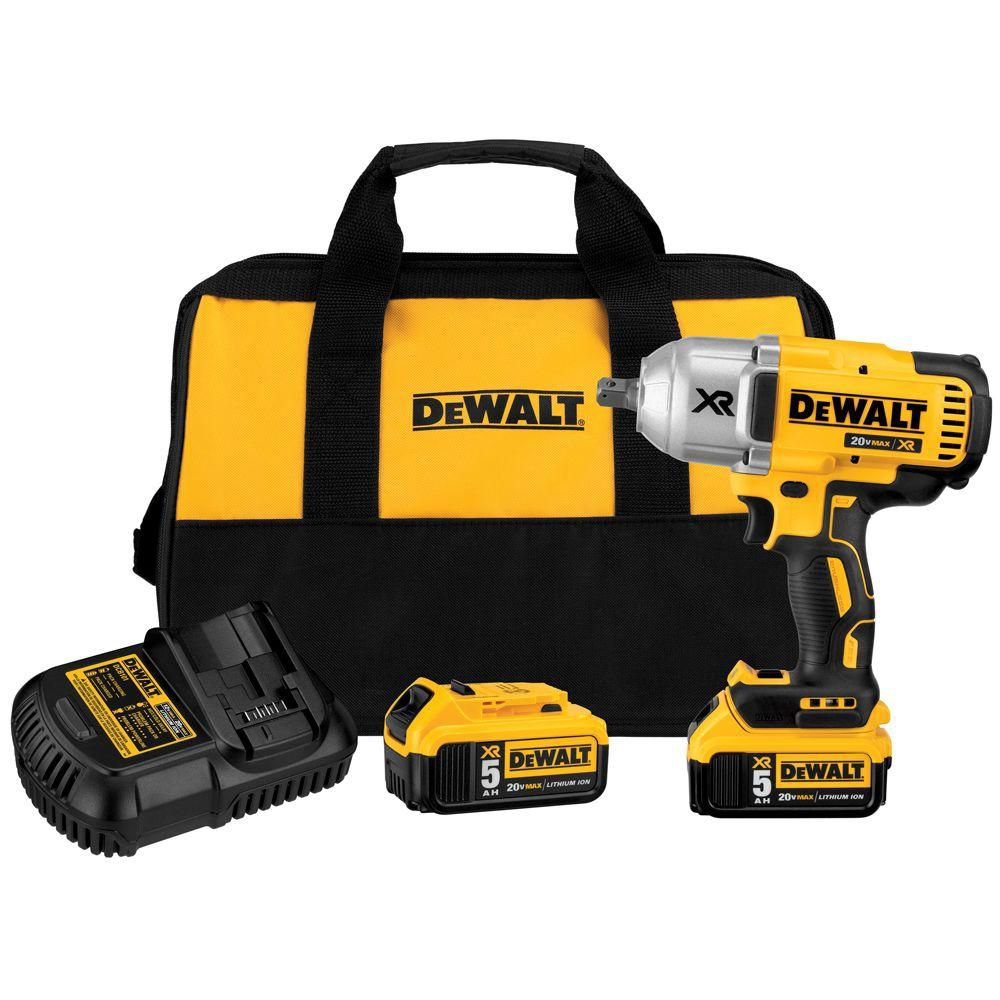 DEWALT 20V MAX XR Brushless High Torque 1/2-inch Impact Wrench Kit with Detent Anvil (5.0Ah)