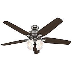 Hunter Ventilateur de plafond intérieur Channing 60 pouces Nickle brossé