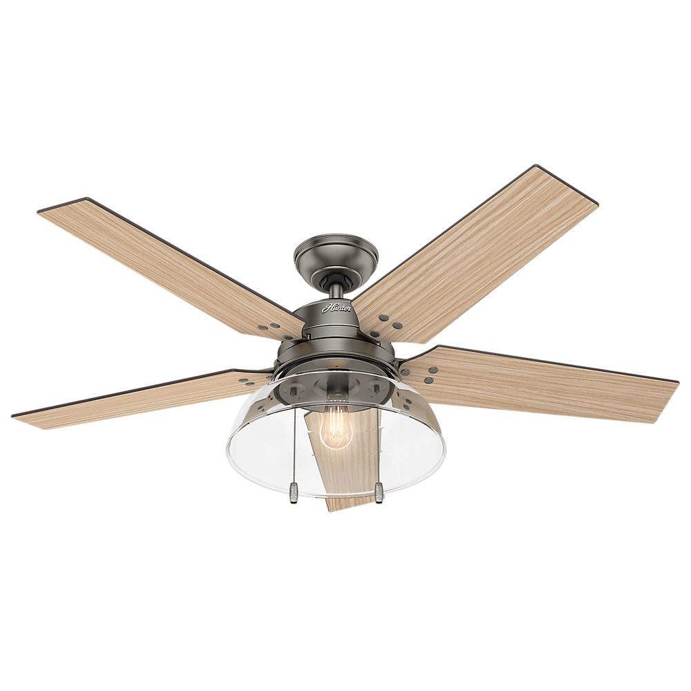 Hunter Lindbeck 52 Inch  Outdoor/Indoor Matte Silver Ceiling Fan
