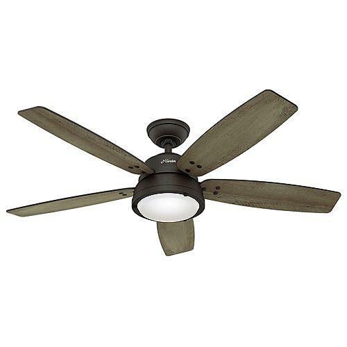 Hunter Channelside 52-inch LED Outdoor Noble Bronze Ceiling Fan