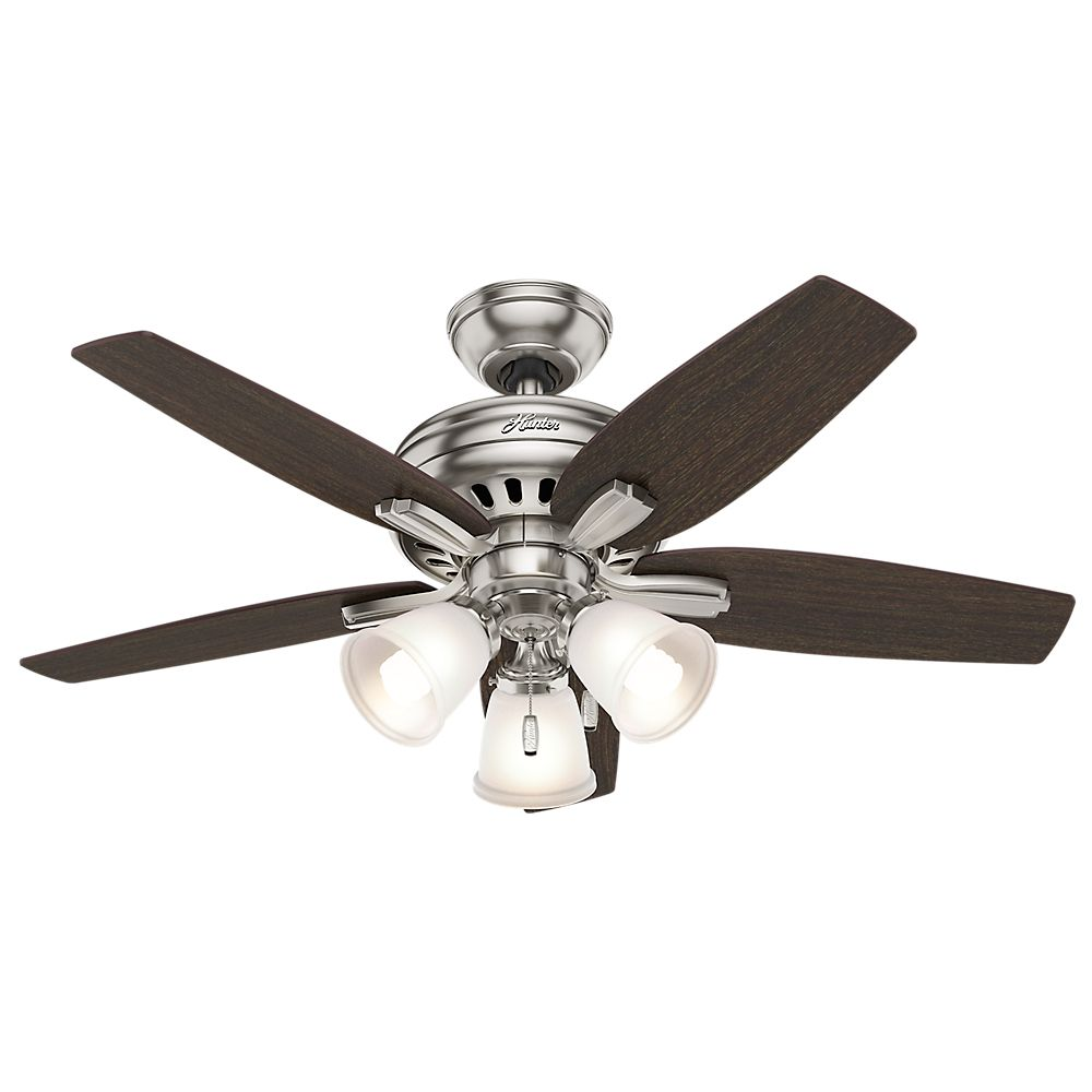 Hunter Newsome 42 Inch Brushed Nickle Ceiling Fan with 3 lights