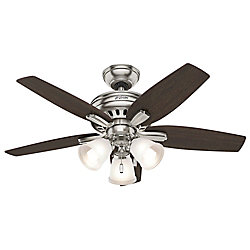 Hunter Newsome 42-inch Ceiling Fan in Brushed Nickel with 3 Lights