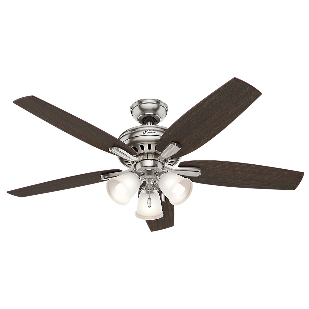 Hunter Newsome 52 Inch Brushed Nickle Ceiling Fan with 3 lights