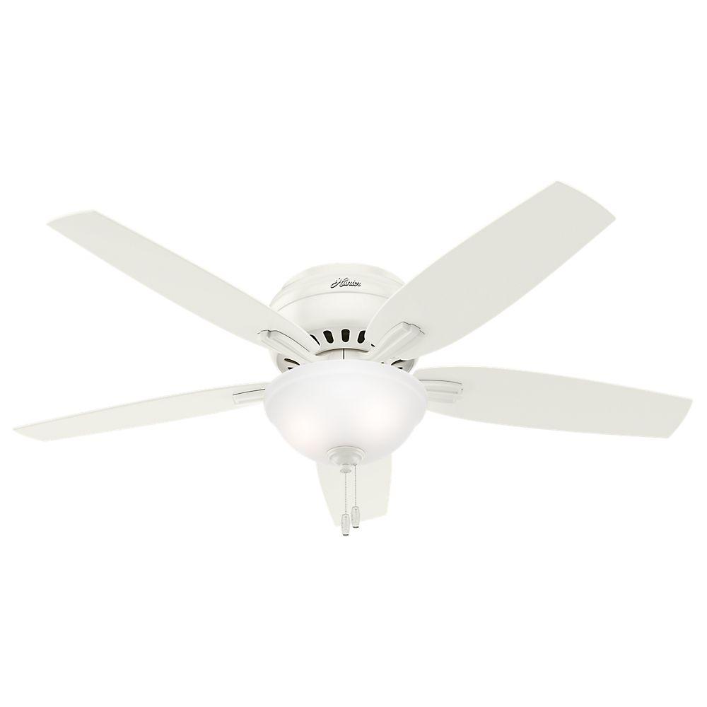 Hunter Newsome 52 Inch  Low Profile White Ceiling Fan