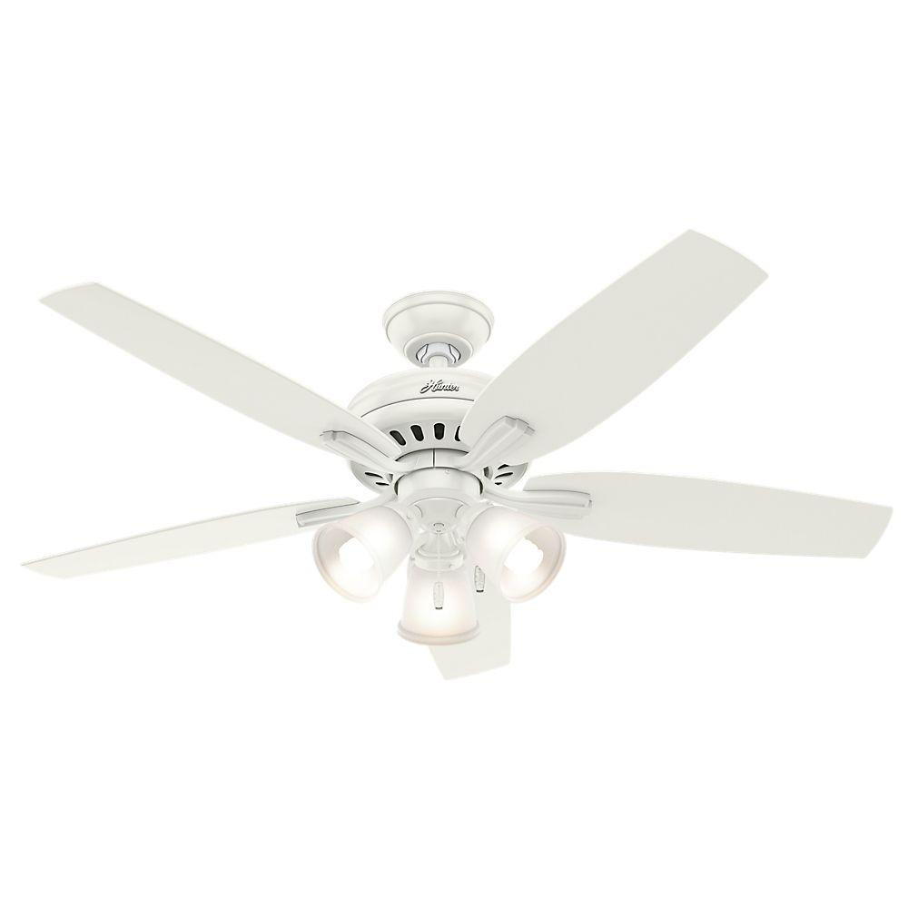 Hunter Newsome 52 Inch  White 3-light Ceiling Fan
