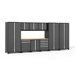 NewAge Products Inc. Pro Series 10-Piece Cabinet System in Grey with Bamboo Worktop