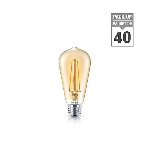 Philips 40W Equivalent Amber (2000K) ST19 Filament LED Light Bulb (40-Pack)
